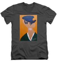 Patrick Francis Charcoal Designer V-Neck T-Shirt featuring the painting Young Man With A Hat 2014 - After Vincent Van Gogh by Patrick Francis