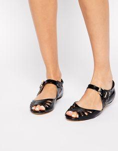 Enlarge London Rebel Happen Peep Toe Flat Shoes