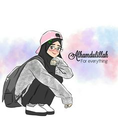 Alhamdulillah for everything Anime Girl Neko, Cool Anime Girl, Girl Cartoon, Cute Cartoon, Muslim Pictures, Medical Wallpaper, Hijab Drawing, Islamic Cartoon, Shadow Pictures