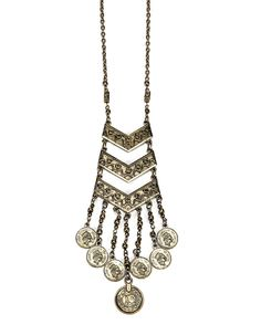 Turkish Delight Jewelry | Gold Coin Drop Necklace - Gold | Country Outfitter