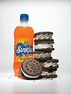 Worst Drinks in America - Worst Soda   #16 Sunkist (1 bottle, 20 fl oz)  320 calories  0 g fat  84 g sugars  Sugar Equivalent: 6 Breyers Oreo Ice Cream Sandwiches