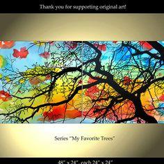 Tree Painting Flowers Original Modern Landscape by ColorinaArt, $295.00