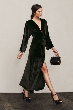 Hubba hubba. The Catrall Dress is just a straight up stunner and that's exactly how you'll feel when you wear it. It's all the fancy without sacrificing the comfort. This is a full length stretch velvet gown with a plunging wrap neckline, elastic waist and front slit. https://www.thereformation.com/products/catrall-dress-merta?utm_source=pinterest&utm_medium=organic&utm_campaign=PinterestOwnedPins