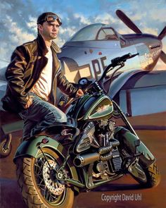 Biker Clubs were direct off-shoots and outlets for many WWII Vets still needing the camaraderie and adrenaline rush they experienced together during the War. Art by David Uhl