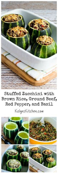 I love using these Heirloom 8-Ball Zucchini to make Stuffed Zucchini with Brown Rice, Ground Beef, Red Pepper, and Basil, but you can also use regular long zucchini if that's what you have. [from KalynsKitchen.com] #GlutenFree #ZucchiniRecipe