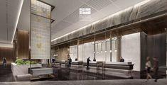 Lobby Interior, Office Interior Design, Office Interiors, Interior Design Living Room, Interior Architecture, Reception Desk Design, Hotel Reception, Lobby Bar, Hotel Lobby