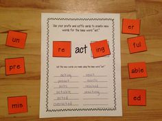 Hands on activity: Students build words using prefixes and suffixes!  $