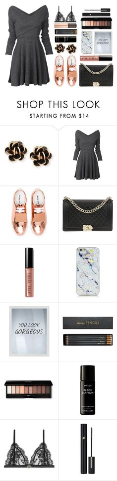 """Sneakers and dress"" by marias1808 ❤ liked on Polyvore featuring Chantecler, Acne Studios, Chanel, Bobbi Brown Cosmetics, PTM Images, Sloane Stationery, Liberty, Alexander McQueen and Lancôme"