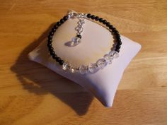 Frosted black agate and clear quartz bracelet £6.00