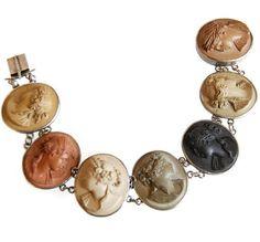 Victorian Lava Cameo Bracelet Antique Grand Tour by Curiopolis Cameo Jewelry, Jewelry Box, Jewellery, Lava, Heart Button, Grand Tour, Bracelet Watch, Bracelet Box, Bridal Accessories