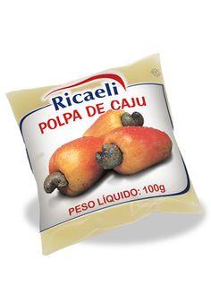A Polpa de Fruta Riacaeli sabor Caju é um produto 100% Natural, é Distribuída de Fruit Mix nas embalagens de 100g e 1Kg (10 unidades de 100g)