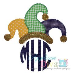 Mardi Gras Jester Hat Monogram Tooper by theappliquediva on Etsy