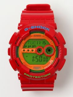 Casio G-SHOCK Colour Digital GD-100HC-4ER Watch in red / orange at oki-ni