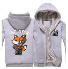 The walking dead thick fleece hoodie negan fox clothing for winter Zip Up Hoodies, Hooded Sweatshirts, Fox Print, Fat Man, Fleece Hoodie, The Walking Dead, Plus Size Outfits, Zip Ups, Black And Grey