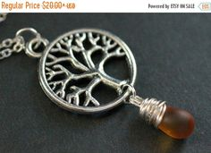 HALLOWEEN SALE Tree Necklace. Silver Tree of Life Necklace. Wire Wrapped Frosted Amber Teardrop Necklace. Handmade Jewellery. by TheTeardropShop from The Teardrop Shop. Find it now at http://ift.tt/2evkkrc!