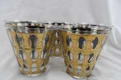 Vintage Culver 22K Gold with Green Drinking Rocks Tumblers Glasses by BCScollectibles on Etsy