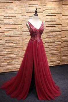 Burgundy v neck beads tulle long prom dress, burgundy evening dress