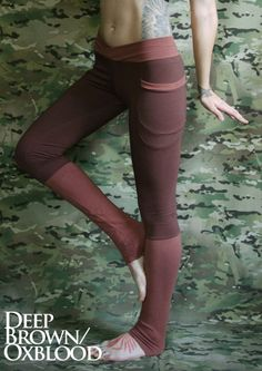 Hand dyed bamboo fleece leggings in Deep Brown/Oxblood