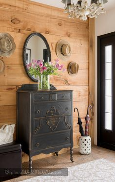 Cheap Home Decor I love the use of a dark dresser in the foyer with that natural wood wall.Cheap Home Decor I love the use of a dark dresser in the foyer with that natural wood wall Black Furniture, Painted Furniture, Pottery Barn Furniture, Dresser Furniture, Outdoor Furniture, Entryway Dresser, Tall Dresser, Interior Design Boards, Interior Paint