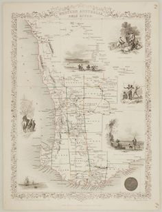 Antique MapArt : 1851 J. Tallis 'Western Australia, Swan River' - Antique Map of Australia/World Old Maps, Antique Maps, Australia Map, Western Australia, Westerns, Modern History, Historical Maps, Vintage Wall Art, Vintage World Maps
