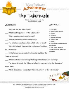Enjoy our free Bible Quiz: The Tabernacle. Learn more about the Torah. Fun for kids to print and test their knowledge. Feel free to share with others, too! Bible Stories For Kids, Bible Study For Kids, Scripture Study, Kids Bible, Children's Bible, Sunday School Activities, Bible Activities, Sunday School Lessons, Church Activities