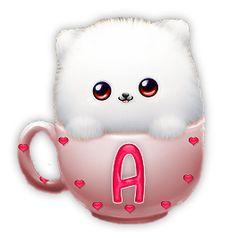 Alfabeto de gatito dentro de una taza con corazones. | Oh my Alfabetos!