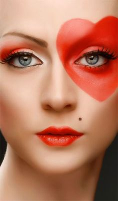 12 Valentine's Day Heart Eye Makeup Looks & Ideas For Girls & Women 2016 - Bilden Ideen Make Up Tutorials, Mauve Makeup, Eyeshadow Makeup, Make Up Looks, Creative Makeup Looks, Simple Makeup, Halloween Makeup Clown, Facial, Makeup Looks Tutorial