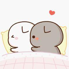 Cute Anime Cat, Cute Bunny Cartoon, Cute Kawaii Animals, Cute Cartoon Pictures, Cute Love Pictures, Cute Love Cartoons, Cute Cat Gif, Beautiful Pictures, Gif Lindos
