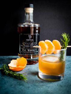 Tangerine, Honey, and Rosemary Old Fashioned