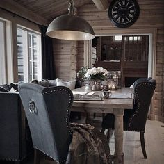 Rustic home office with a suspended stainless steel pendent light fixutre Cottage Inspiration, Cabin Decor, Luxury Cabin, Cabins And Cottages, Rustic House, Cabin Style, Cozy House, Home Decor, House Interior