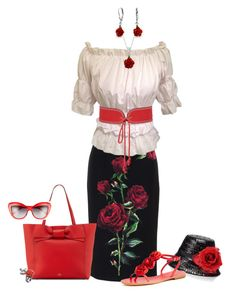 """""""Red is the Rose"""" by kathleensmith-i ❤ liked on Polyvore featuring Dolce&Gabbana, Kate Spade, CO, Bling Jewelry, Mawi and Yves Saint Laurent"""