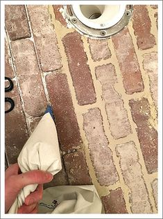 brick flooring using grout bag to grout brick floor Porch Flooring, Linoleum Flooring, Brick Flooring, Diy Flooring, Flooring Ideas, Entryway Flooring, White Flooring, Rubber Flooring, Brick Tile Floor
