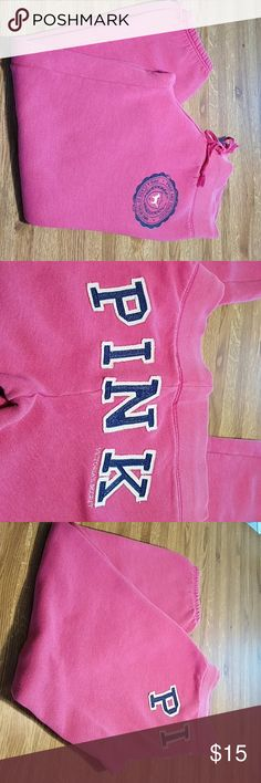 Classic Pink Victoria Secret Sweats EUC Victoria Secret pink sweats. These are in good shape with no holes or anything noticeable..The last picture shows a tiny stain by the bottom of the leg. These are Capri style with elastic so it would not even show. So comfortable but no longer age appropriate for me.😱❤ Victoria Secret Pants Ankle & Cropped
