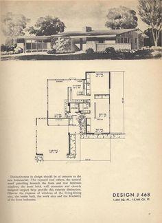 J 468 Vintage House Plans, Mid Century House Plans Vintage House Plans, Modern House Plans, Modern House Design, House Floor Plans, Vintage Homes, Modern Houses, Planer Layout, Mcm House, Architecture Plan