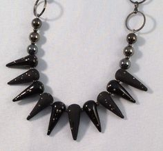 Black lampwork spike beaded necklace with silver accent @ analecedesign.com and M&F CASUALS