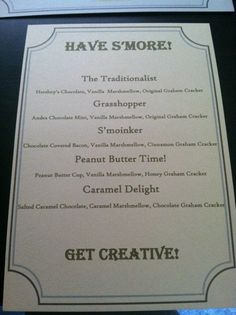 S'mores recipe sign for a s'mores station or s'mores table