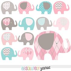 Pink Grey Teal Blue Baby Elephant Digital Clipart   Girly Clip Artblue                                                                                                                                                                                 More