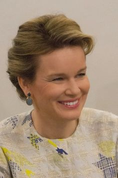 Queen Mathilde of Belgium visits the RTBF studio on 19.03.2015 in Brussels, Belgium.