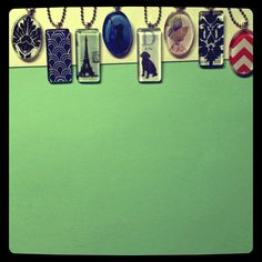 Glass tiles from craft warehouse- then cut paper or photo & mod-podge on! Then hot glue a metal jewelry tab on! Homemade Necklaces, Homemade Jewelry, Diy Necklace Making, Jewelry Making, Jewelry Crafts, Jewelry Art, Jewellery Designs, Handmade Jewellery, Jewelry Ideas
