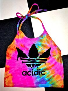 #OMIGHTY OG ACIDIC HALTER TIED & DYED cotton stretchy halter tank