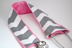 FREE SHIPPING- Padded Stethoscope Cover - Grey Chevron & Pink- Nurse, Doctor, Med Student, Medical Assistant via Etsy
