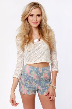 Pretty Floral Shorts - Print Shorts - Scalloped Shorts
