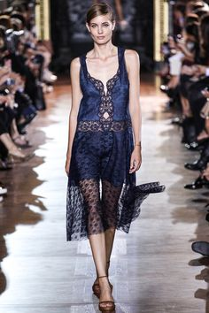 Stella McCartney Spring 2014 RTW. #StellaMcCartney #Spring2014 #PFW cobalt blue and black. lace. silk. slip. sheer overlay. sleepwear. lingerie.