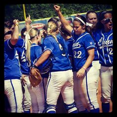 The #softball team gathering up during a game! #lynnuniversity #fightingknights
