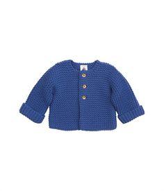 Cardigan bébé en tricot point mousse laine et coton