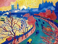 Charing Cross Bridge (Londra), 1906 by Andre Derain. Fauvism. cityscape. Musée d'Orsay, Paris, France