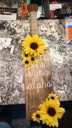 Sigma Alpha Sunflower Paddle | DeClaire Happiness