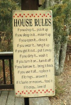 "This primitive rustic sign, is perfect for your country home decor.  House rules , family rules sign, with a touch of humor. Sign measures 26"" X 11 1/4""   It is"