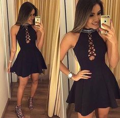 Find unique, vintage and handmade Best A-Line Jewel Hollow Black Homecoming Dress Homecoming Dresses in sevengrils A-Line Jewel Hollow Black Homecoming Dress Hoco Dresses, Pretty Dresses, Homecoming Dresses, Sexy Dresses, Beautiful Dresses, Teen Fashion Outfits, Sexy Outfits, Dress Outfits, Fashion Dresses