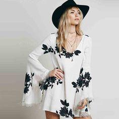#Boho White Mini Short Casual Dress